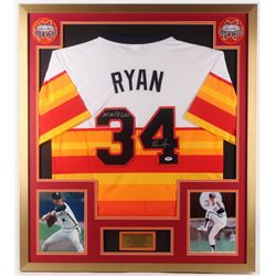 "Nolan Ryan Signed Houston Astros 32x36 Custom Framed Jersey Display Inscribed ""100.7 M.P.H. Fastball"