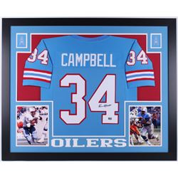 Earl Campbell Signed Houston Oilers 35x43 Custom Framed Jersey (Campbell Hologram)