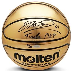 "Dirk Nowitzki Signed Limited Edition Molten Gold Trophy Basketball Inscribed ""Finals MVP"" (UDA COA)"