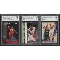 Lot of (3) BCCG Graded 10 LeBron James Basketball Cards with 2003 Sports Illustrated for Kids #264,