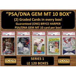 ICON AUTHENTIC  PSA/DNA GEM MT 10 CARD MYSTERY BOX (2) GRADED CARDS PER BOX! Guaranteed (one) Bryce