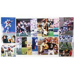 Lot of (20) Signed NFL 8x10 Photos with Bob Feller, Jim Plunkett, Jay Novacek, Drew Pearson, Nick Va