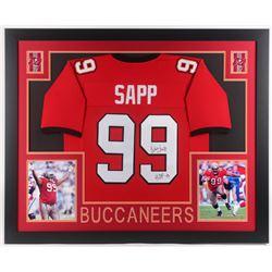"""Warren Sapp Signed Tampa Bay Buccaneers 35x43 Custom Framed Jersey Inscribed """"HOF 13"""" (JSA COA)"""