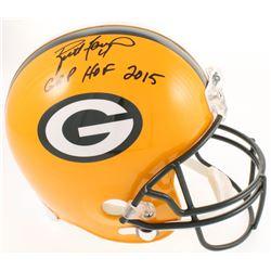 """Brett Favre Signed Green Bay Packers Full-Size Helmet Inscribed """"GBP HOF 2015"""" (Radtke COA)"""