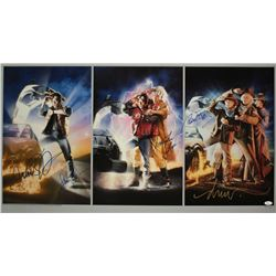 """""""Back to the Future"""" Cast-Signed 27x41 Giclee on Heavy Paper with (4) Signatures Including Michael J"""