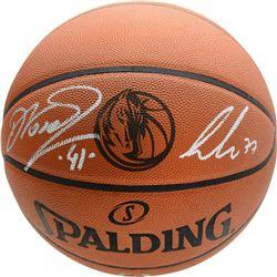 Luka Doncic  Dirk Nowitzki Signed Dallas Mavericks Logo Basketball (Fanatics Hologram)