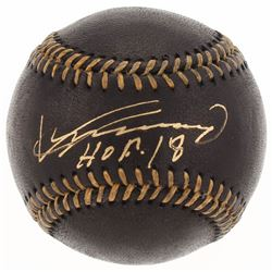Vladimir Guerrero Signed OML Black Leather Baseball Inscribed  HOF 18  (JSA COA)