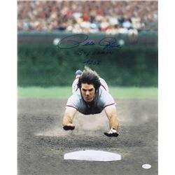 Pete Rose Signed Cincinnati Reds 16x20 Photo Inscribed  Superman    4,256  (JSA COA)