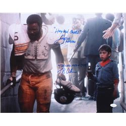 "Joe Greene  Tommy Okon Signed ""Hey Kid, Catch!"" 16x20 Photo Inscribed ""Hey Kid, Catch""  ""Thanks Mean"