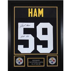 """Jack Ham Signed Pittsburgh Steelers 24x30 Custom Framed Jersey Inscribed """"HOF 88"""" (JSA COA)"""