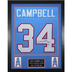 Earl Campbell Signed Houston Oilers 24x30 Custom Framed Jersey (JSA COA)