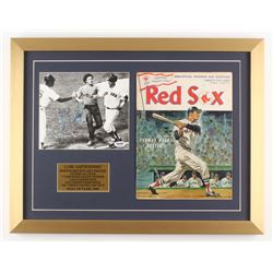 Carl Yastrzemski Signed Boston Red Sox 17x22 Custom Framed Photo Display with 1968 Official Program