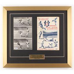 Yogi Berra Signed New York Yankees 17x19 Custom Framed Photo Display with 1964 Official Program (PSA