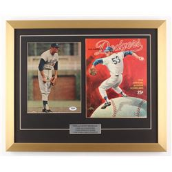 Don Drysdale Signed Los Angeles Dodgers 18x22 Custom Framed Photo Display with 1968 Official Program