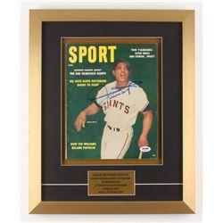 Willie Mays Signed 15.5x19 Custom Framed Sport Magazine (PSA COA)