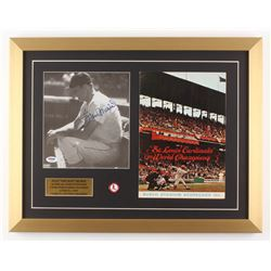 Stan Musial Signed St. Louis Cardinals 17x22 Custom Framed Photo Display with 1965 Official Program