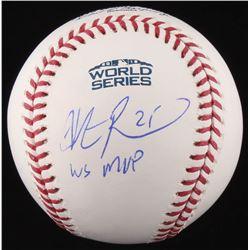 """Steve Pearce Signed 2018 World Series Baseball Inscribed """"WS MVP"""" (JSA COA)"""