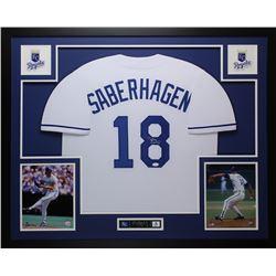 Bret Saberhagen Signed Kansas City Royals 35x43 Custom Framed Jersey (JSA COA)
