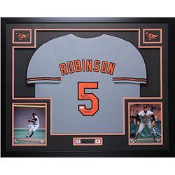 "Brooks Robinson Signed Orioles 35"" x 43"" Custom Framed Jersey Inscribed ""HOF 83"" (JSA COA)"