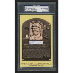Ken Griffey Jr. Signed Gold Hall of Fame Plaque Postcard Cut (PSA Encapsulated)