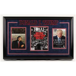 "Donald Trump Signed 18x30 Custom Framed ""Time"" Magazine Display (PSA COA)"