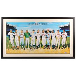 """500 Home Run Hitters"" 24"" x 42"" Custom Framed Lithograph Display Signed by (11) with Mickey Mantle,"