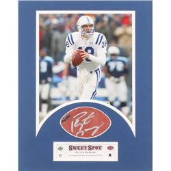 Peyton Manning Signed Indianapols Colts 11x14 Custom Framed Leather Football Cut (UDA COA)