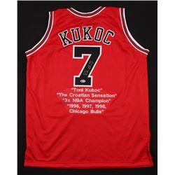 Toni Kukoc Signed Chicago Bulls Career Highlight Stat Jersey (Beckett Hologram)
