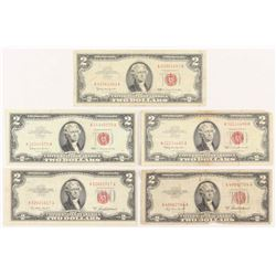 Lot of (5) 1953-63 $2 Two-Dollar Red Seal United States Legal Tender Notes