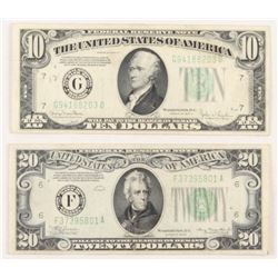 Lot of (2) 1934 U.S. Federal Reserve Bank Notes with $10  $20