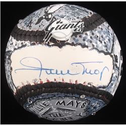 Willie Mays Signed Original Hand-Painted Baseball by Charles Fazzino (Fazzino LOA)