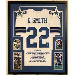 Emmitt Smith Signed Dallas Cowboys 34x42 Custom Framed Career Highlight Stat Jersey (Beckett COA  PR