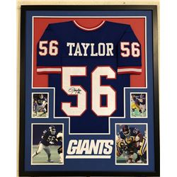 Lawrence Taylor Signed New York Giants 34x42 Custom Framed Jersey (JSA COA)