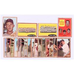 Lot of (20) 1962 Topps Baseball Cards with #21 Jim Kaat, #51 AL Batting Leaders, #24 Detroit Tigers