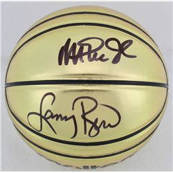 Larry Bird  Magic Johnson Signed Molten Basketball (Beckett COA)