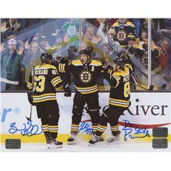 Brad Marchand, David Pastrnak,  Patrice Bergeron Signed Boston Bruins 8x10 Photo (Bergeron COA, Past