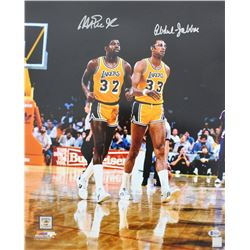 Magic Johnson  Kareem Abdul-Jabbar Signed Los Angeles Lakers 16x20 Photo (Beckett COA)