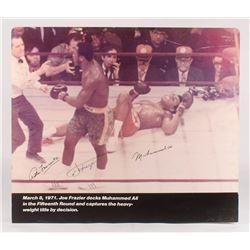 Muhammad Ali, Joe Frazier  Arthur Mercante Sr. Signed 31x36 Print On Board (PSA LOA)