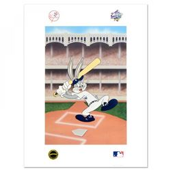 "Looney Tunes ""Bugs Bunny at Bat for the Yankees"" Embossed Collectible 19x25 Lithograph"
