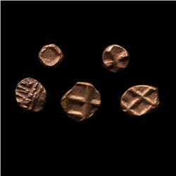 Lot of (5) 11-12th Century India Gold Fanams Ancient Medieval Gold Coins