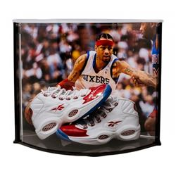 Allen Iverson Signed Philadelphia 76ers Pair of (2) Reebok Shoes with Curve Display Case (UDA COA)