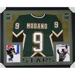 Mike Modano Signed Dallas Stars 35x43 Custom Framed Jersey (JSA COA)