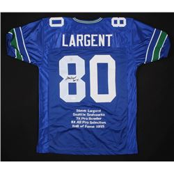 "Steve Largent Signed Seattle Seahawks Career Highlight Stat Jersey Inscribed ""HOF 95"" (JSA COA  Fite"