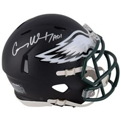 "Carson Wentz Signed Philadelphia Eagles Matte Black Mini Speed Helmet Inscribed ""AO1"" (Fanatics Holo"