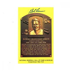 Bob Lemon Signed Gold Hall of Fame Postcard (JSA Hologram)