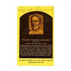 Buck Leonard Signed Gold Hall of Fame Postcard (JSA Hologram)