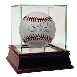 Cal Ripken Jr. Signed OML Baseball Including (10) Stat Inscriptions with High Quality Display Case (