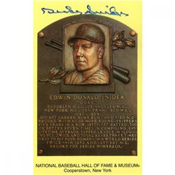 Duke Snider Signed Gold Hall of Fame Postcard (JSA Hologram)