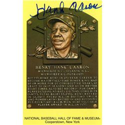 Hank Aaron Signed Hall of Fame Plaque Postcard (JSA Hologram)