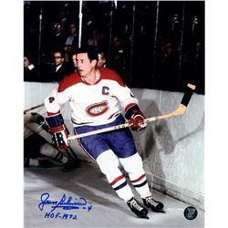Jean Beliveau Signed Canadiens 8x10 Photo Inscribed  HOF - 1972  (Frozen Pond Hologram)